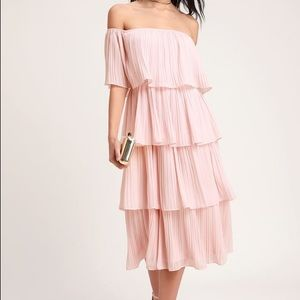 EUC Lulu's Gala Ready Off Shoulder Dress in Blush
